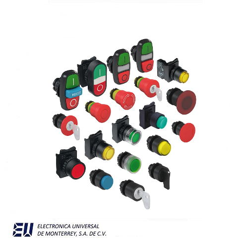 botones, pulsadores, luces piloto y botonería industrial.